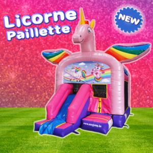 Château gonflable à louer Licorne Paillette