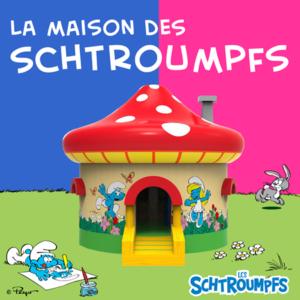 Château gonflable en forme de maison des Schtroumpfs