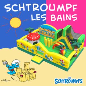 Château gonflable sur le thème de Schtroumpf les Bains